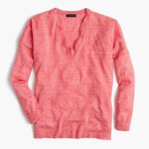 J. Crew Merino Wool Linen V Neck Sweater
